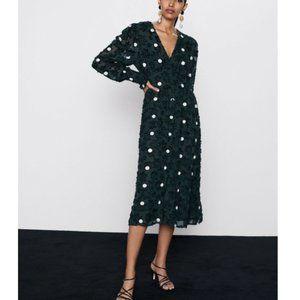 Zara Textured Polka Dot V-Neck Long Sleeve Dress